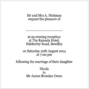 Invitation wording for reception only samples evening wording stopboris Choice Image