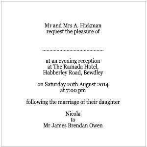 Invitation Wording for...