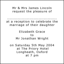 Invitation Wording for Reception Only Samples