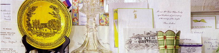 mantlepiece with various formal invitations and informal notes
